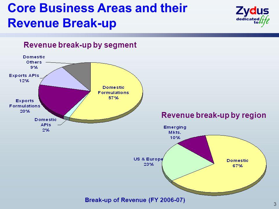 Revenue break-up by segment Revenue break-up by region