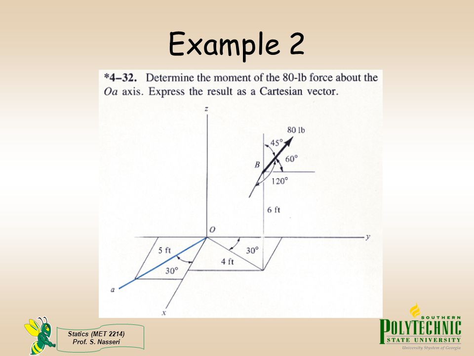 Example 2 Statics (MET 2214) Prof. S. Nasseri