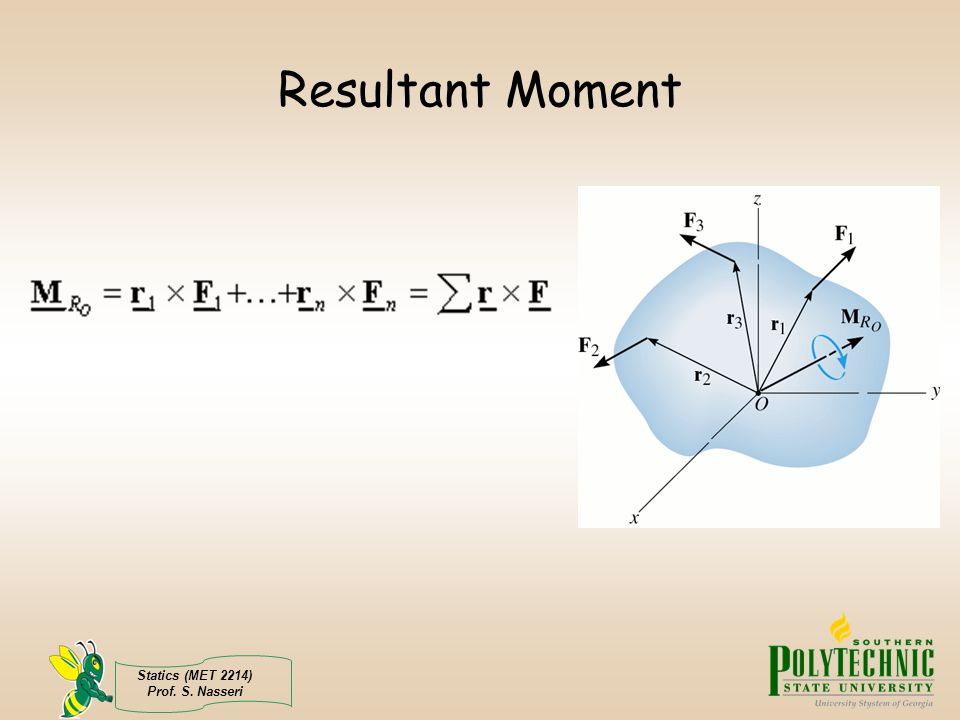 Resultant Moment Statics (MET 2214) Prof. S. Nasseri