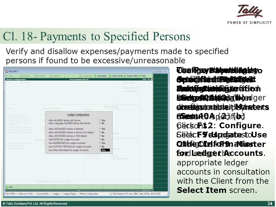 Cl. 18- Payments to Specified Persons
