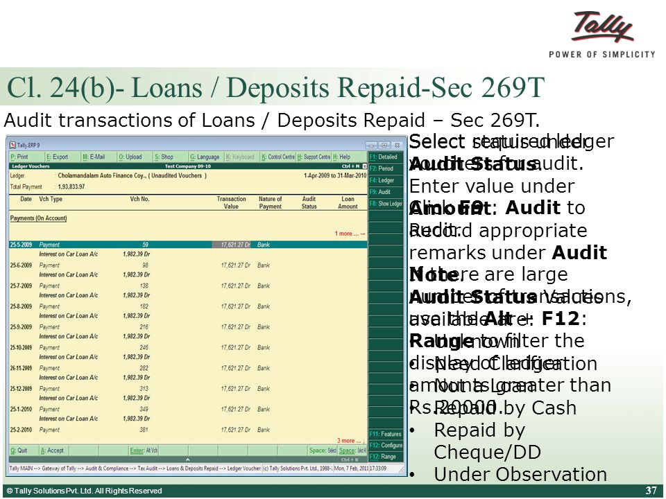 Cl. 24(b)- Loans / Deposits Repaid-Sec 269T
