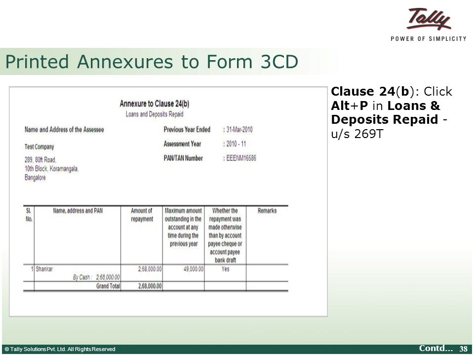 Printed Annexures to Form 3CD