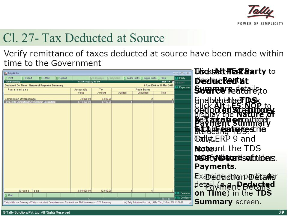 Cl. 27- Tax Deducted at Source