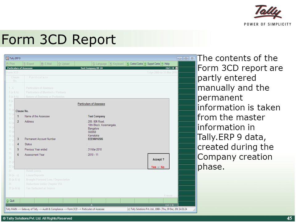 Form 3CD Report