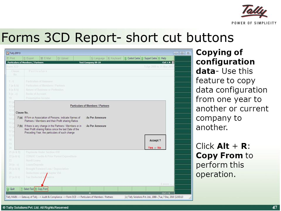 Forms 3CD Report- short cut buttons