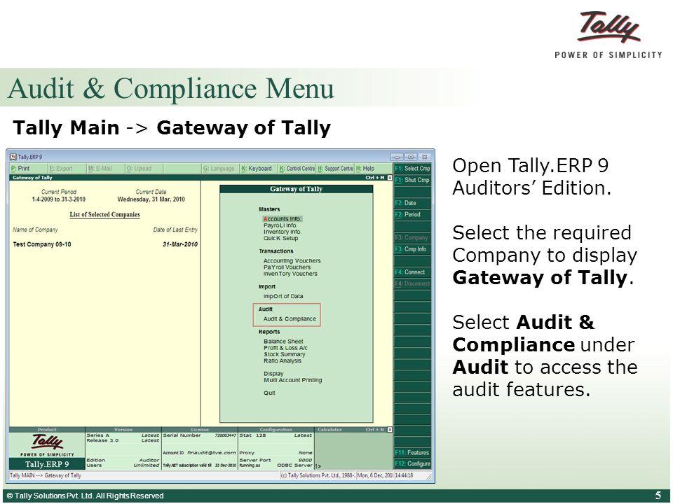 Audit & Compliance Menu