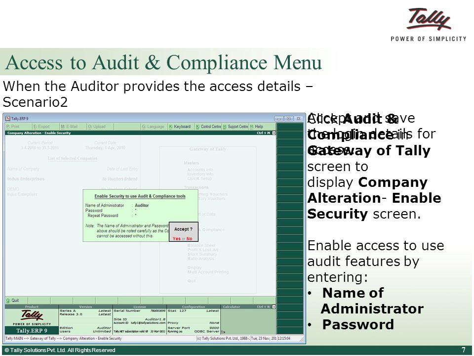 Access to Audit & Compliance Menu
