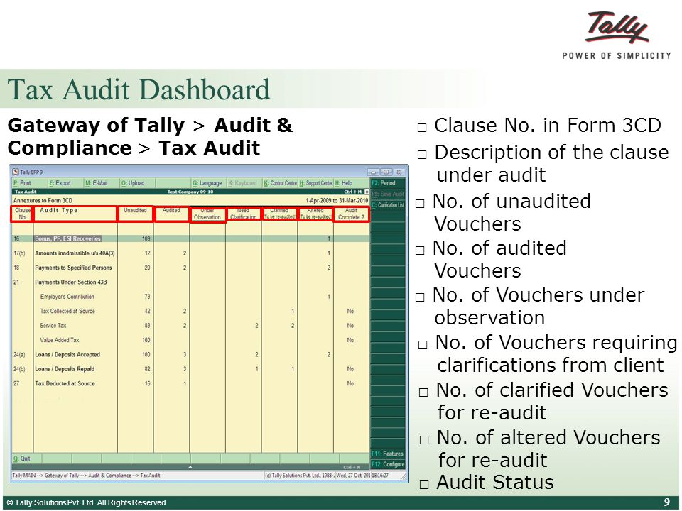 Tax Audit Dashboard Gateway of Tally > Audit & Compliance > Tax Audit. □ Clause No. in Form 3CD. □ Description of the clause under audit.