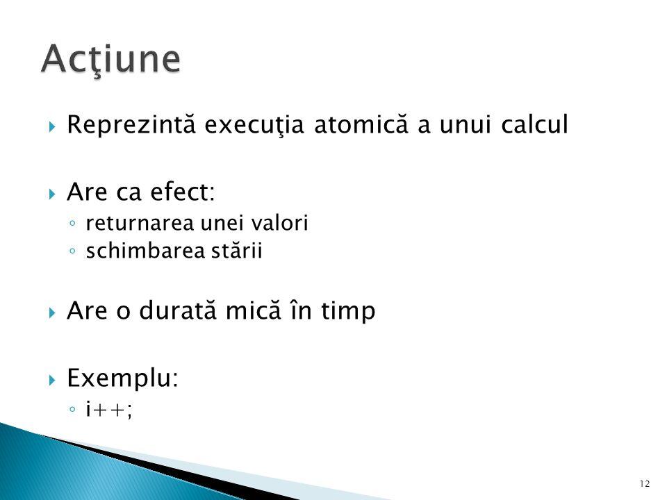 Acţiune Reprezintă execuţia atomică a unui calcul Are ca efect: