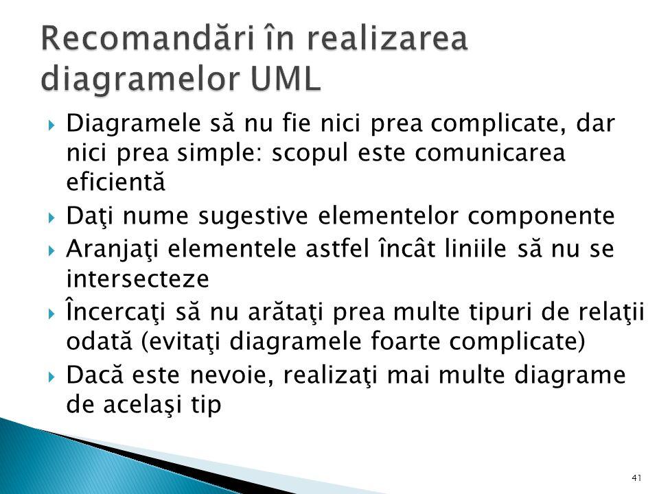 Recomandări în realizarea diagramelor UML