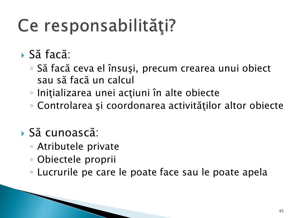 Ce responsabilităţi Să facă: Să cunoască: