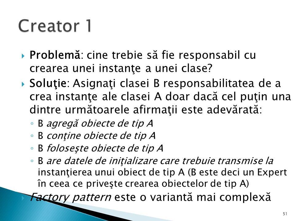 Creator 1 Problemă: cine trebie să fie responsabil cu crearea unei instanţe a unei clase