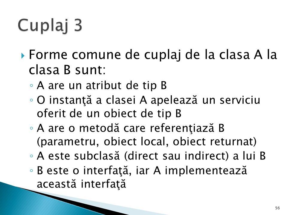 Cuplaj 3 Forme comune de cuplaj de la clasa A la clasa B sunt: