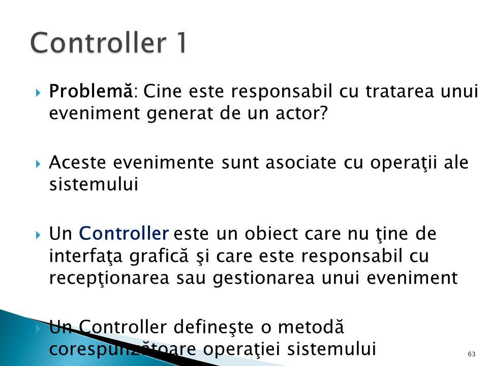 Controller 1 Problemă: Cine este responsabil cu tratarea unui eveniment generat de un actor