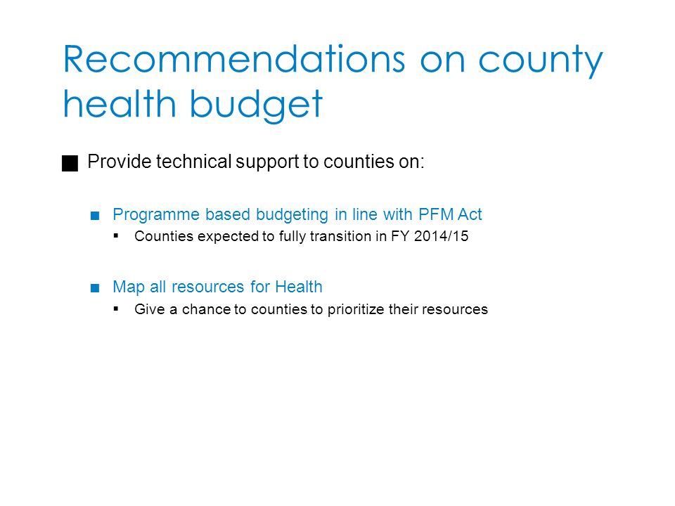 Recommendations on county health budget