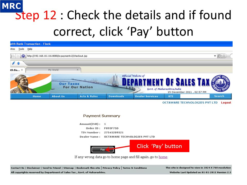 Step 12 : Check the details and if found correct, click 'Pay' button