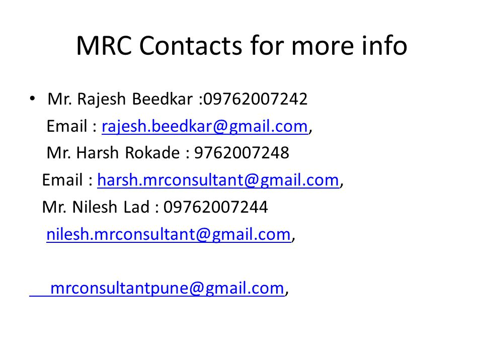 MRC Contacts for more info