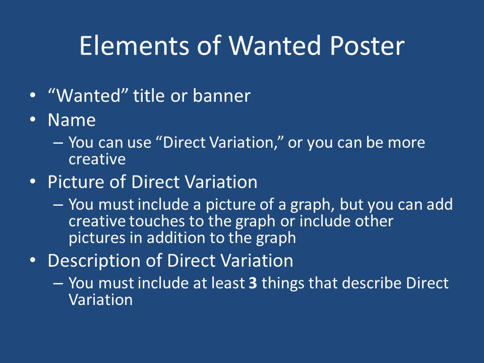 Elements of Wanted Poster