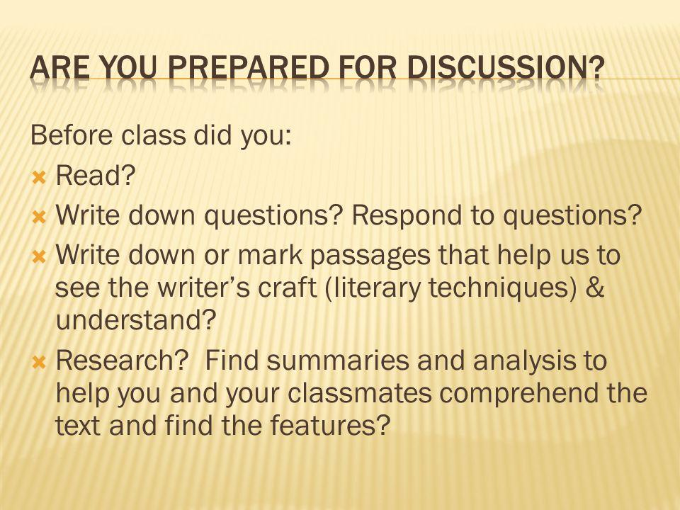 Are you prepared for discussion