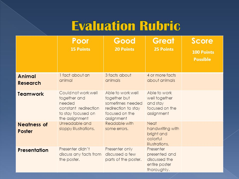 Evaluation Rubric Poor Good Great Score 100 Points Possible