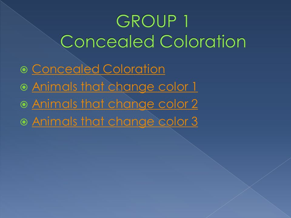 GROUP 1 Concealed Coloration