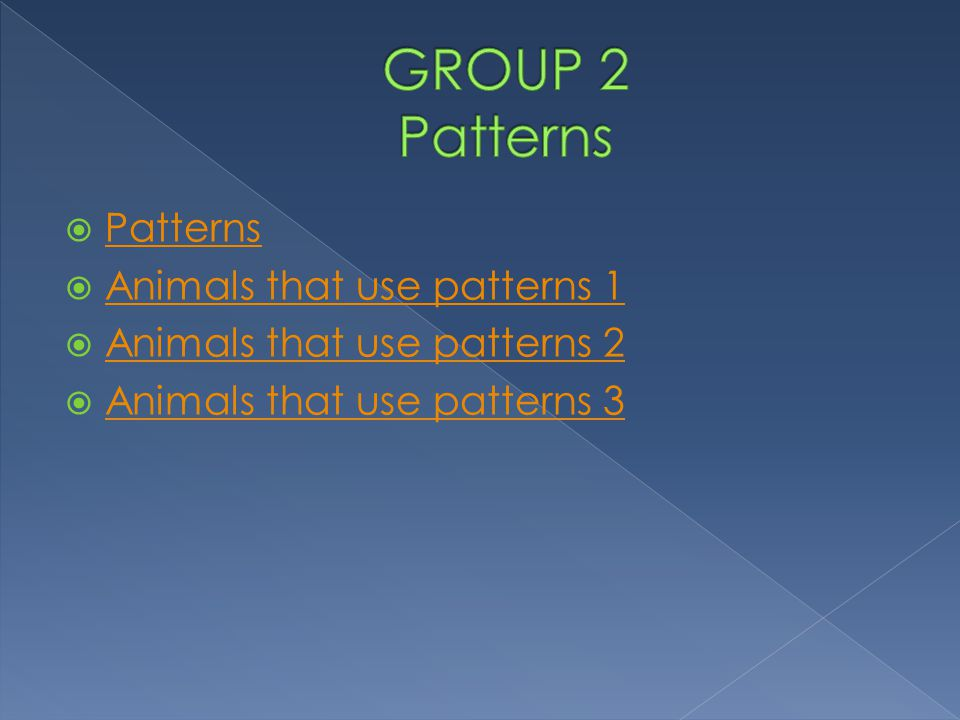 GROUP 2 Patterns Patterns Animals that use patterns 1
