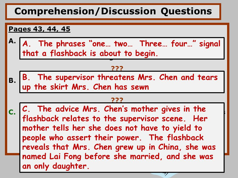 Comprehension/Discussion Questions