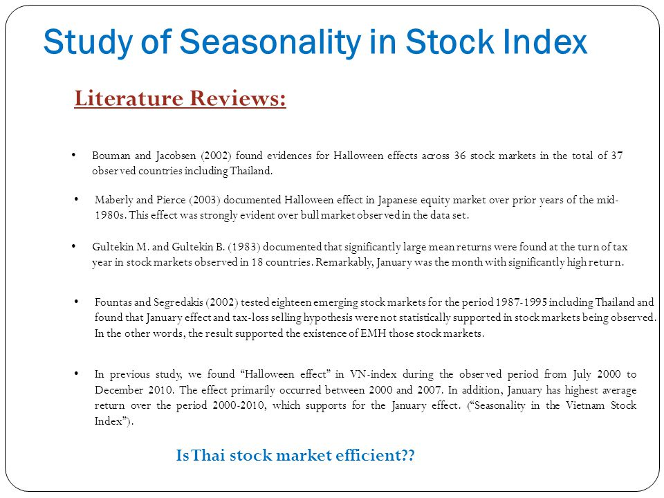 Study of Seasonality in Stock Index