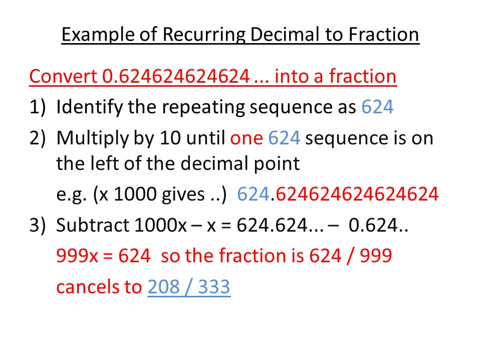 Example of Recurring Decimal to Fraction