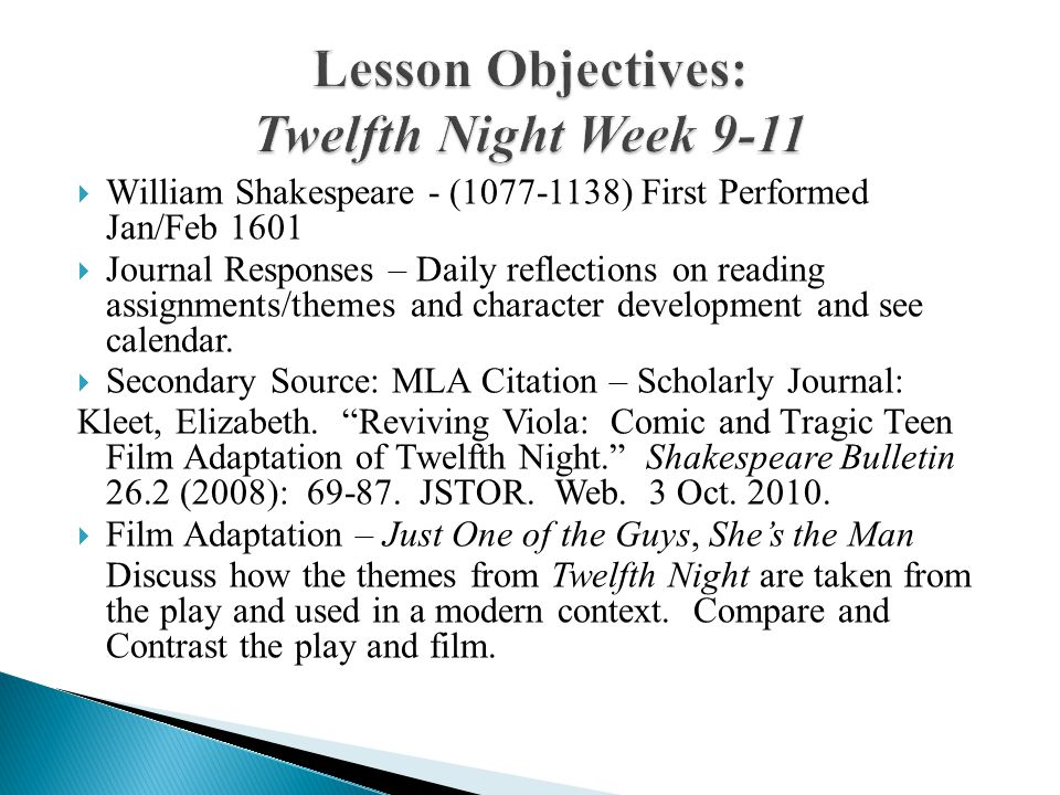 Lesson Objectives: Twelfth Night Week 9-11