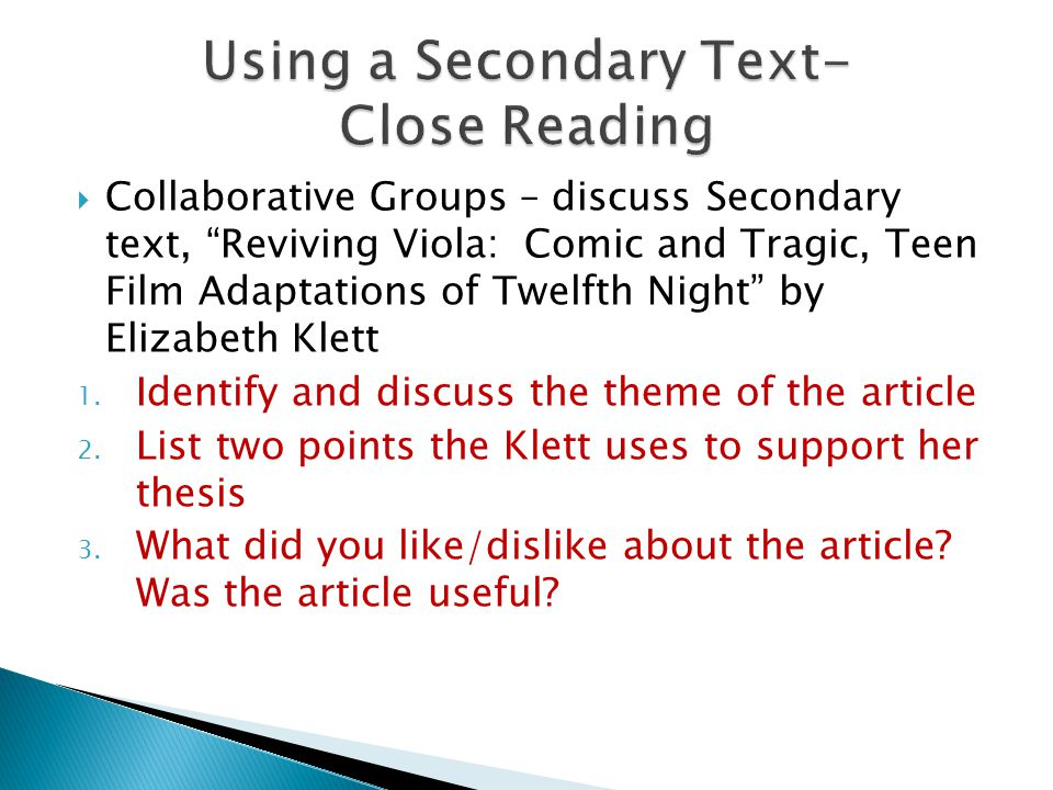 Using a Secondary Text- Close Reading
