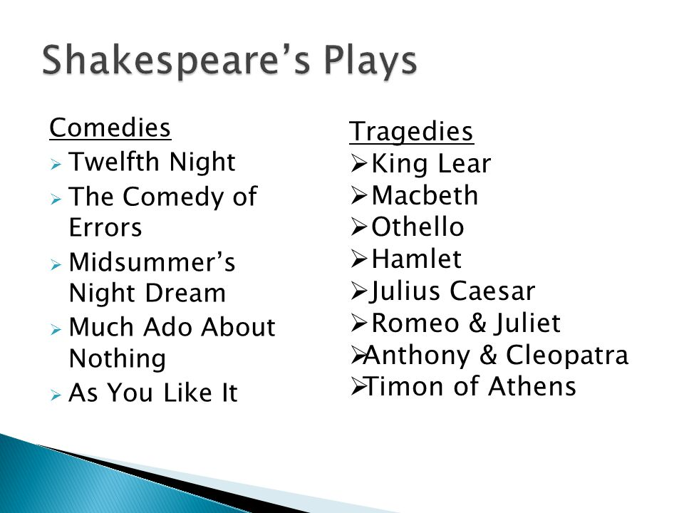 Shakespeare's Plays Tragedies King Lear Macbeth Othello Hamlet