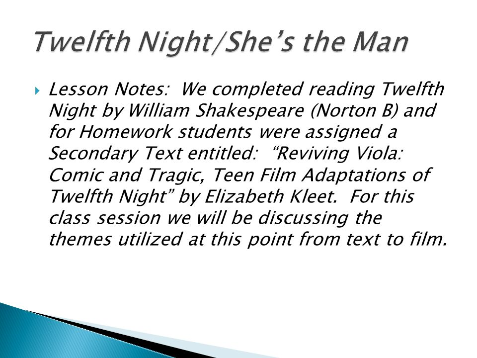 twelfth night essay notes The title, twelfth night, refers to the celebration of epiphany, the twelfth night after christmas characterized by an atmosphere of fun and festivity we will write a custom essay sample on twelfth night specifically for you for only $1638 $139/page.
