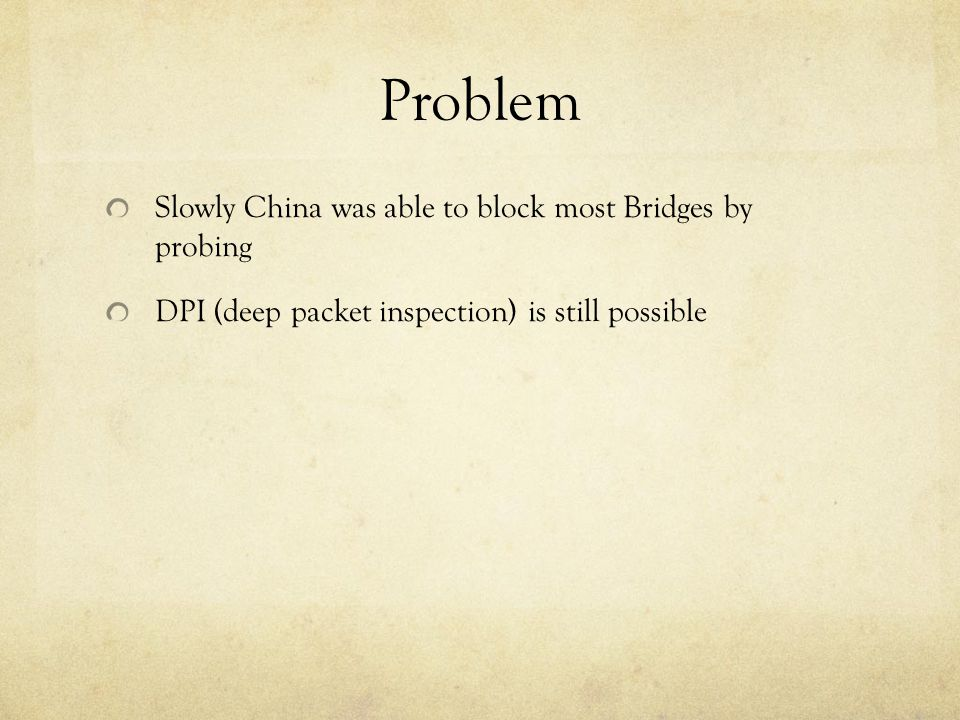 Problem Slowly China was able to block most Bridges by probing