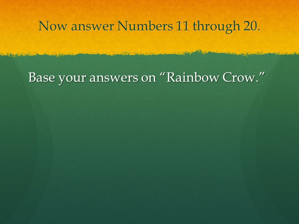 Now answer Numbers 11 through 20.
