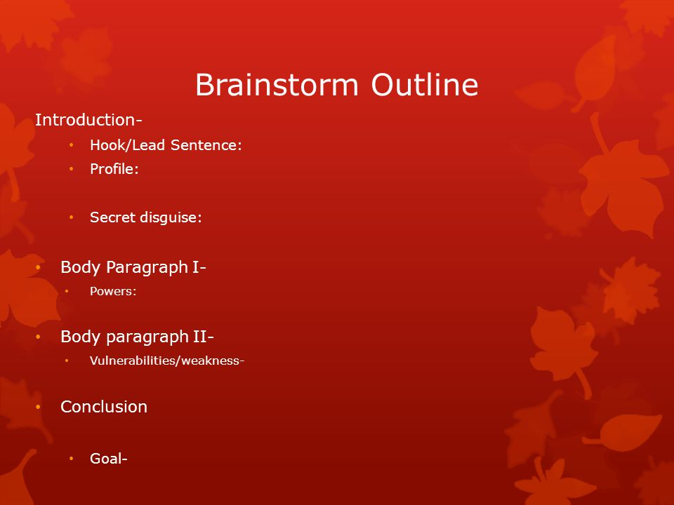 Brainstorm Outline Introduction- Body Paragraph I- Body paragraph II-