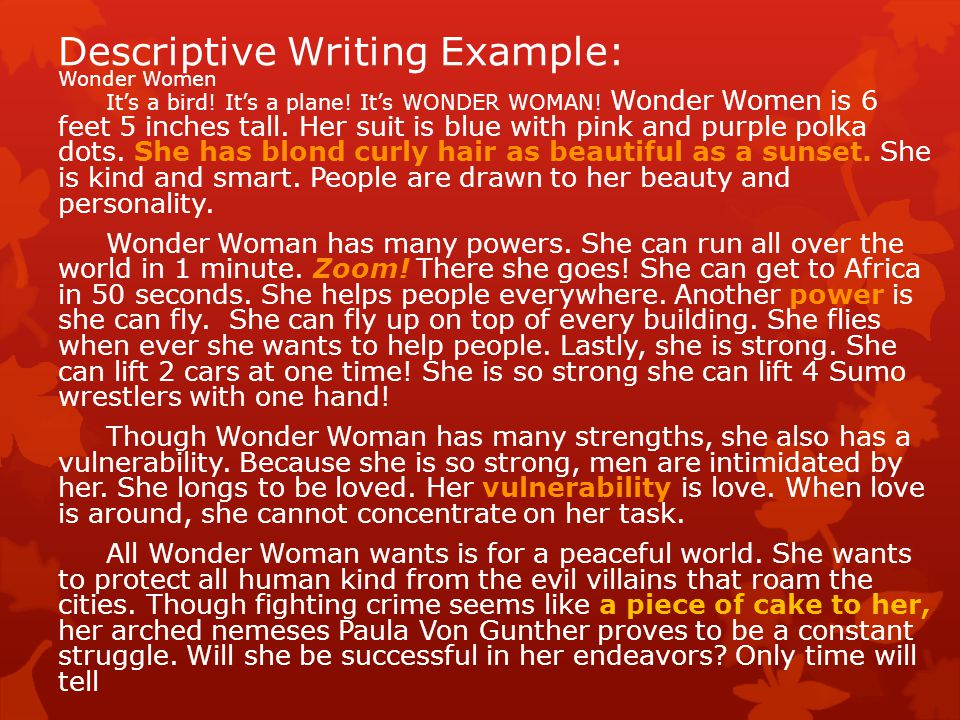 Descriptive Writing Example: