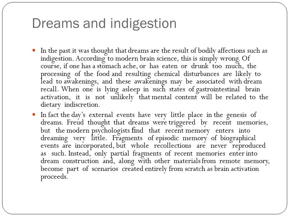 Dreams and indigestion