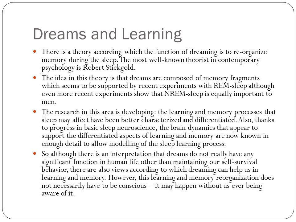 Dreams and Learning