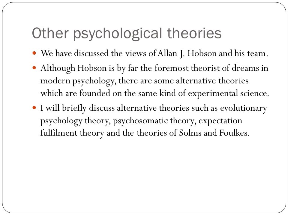 Other psychological theories