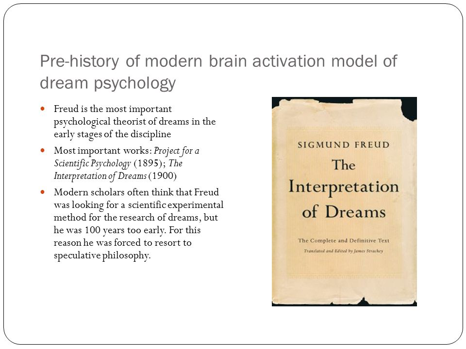 an analysis of the historical psychoanalysis and dream interpretation Psychoanalytic dream interpretation is a subdivision of dream interpretation as  well as a subdivision of psychoanalysis pioneered by sigmund freud in the early  twentieth century psychoanalytic dream interpretation is the process of  explaining the meaning of the way the  psychoanalytic school are convinced  that the patient's genetic history and.