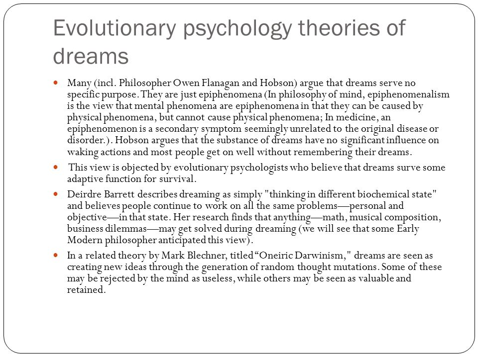 Evolutionary psychology theories of dreams