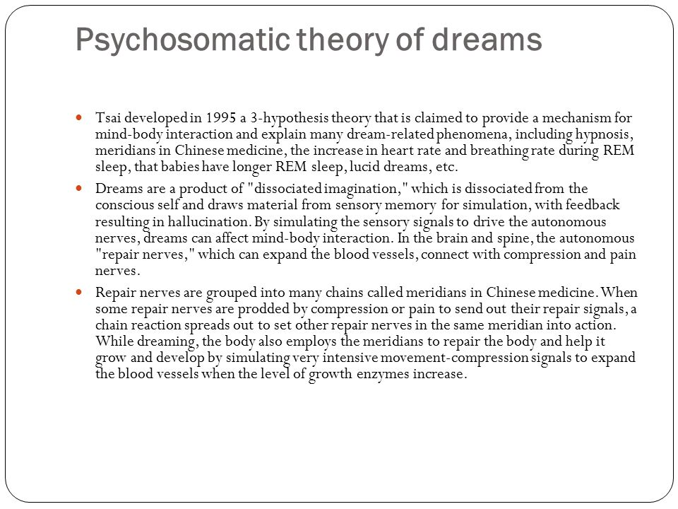 Psychosomatic theory of dreams