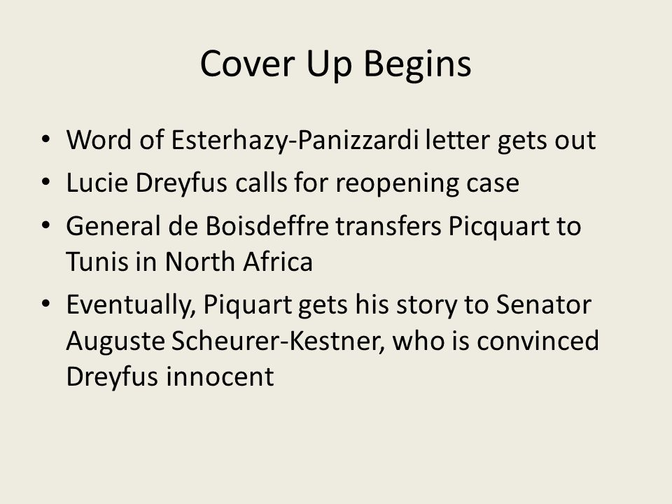 Cover Up Begins Word of Esterhazy-Panizzardi letter gets out