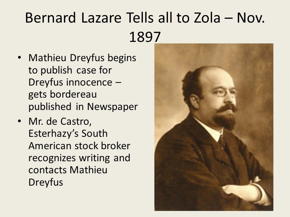 Bernard Lazare Tells all to Zola – Nov. 1897