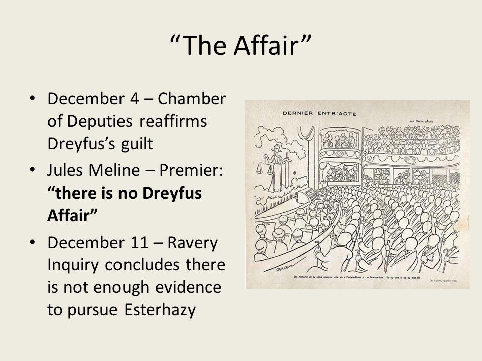 The Affair December 4 – Chamber of Deputies reaffirms Dreyfus's guilt. Jules Meline – Premier: there is no Dreyfus Affair