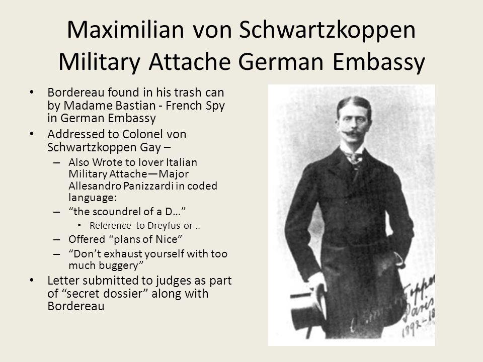 Maximilian von Schwartzkoppen Military Attache German Embassy