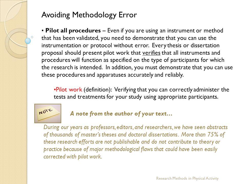 Avoiding Methodology Error