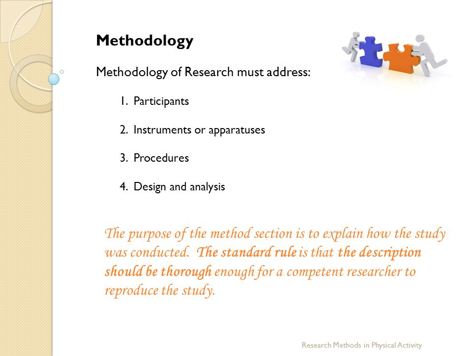 Methodology Methodology of Research must address: 1. Participants. 2. Instruments or apparatuses.