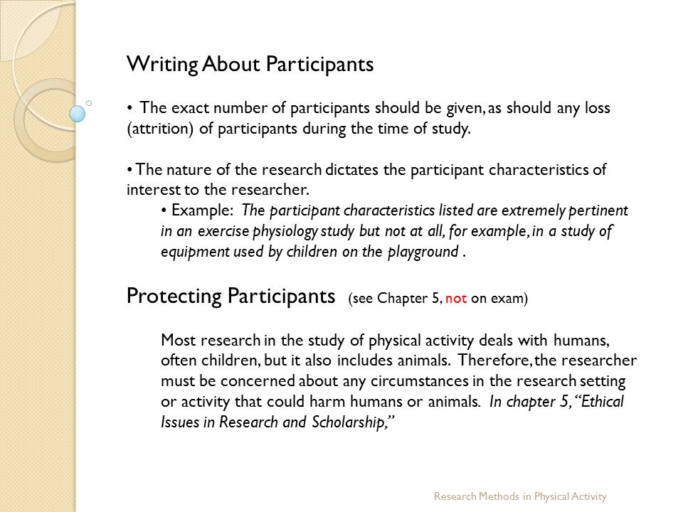 Writing About Participants